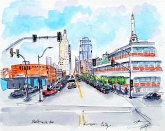 """Original Ink and watercolor painting from Kansas City Baltimore Ave. WTA rocket, KC skyline 9""""x12"""". By Liz Vargas"""