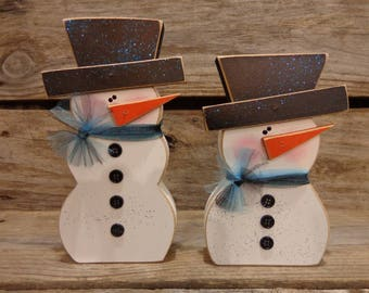 Winter Decor-Snow Decor-Snowman Decor- Chunky snowman set