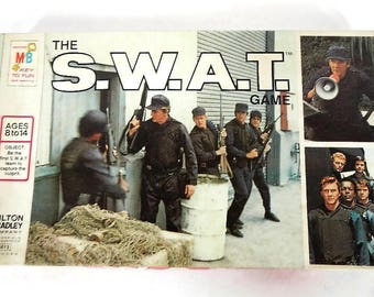 Vintage COMPLETE The S.W.A.T. Game Board Game - tv show, 1976, like new - Milton Bradley, #4613, SWAT team, police, television, game night