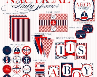 Nautical Baby Shower PRINTABLE Party Full Collection (INSTANT DOWNLOAD) by Love the Day