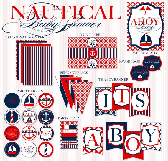 Nautical Baby Shower Printable Party Full Collection Instant