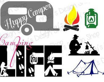 Happy Camper Svg Download Silhouette Camping Life Vinyl Crafts Decals