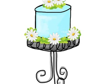 Turquoise Daisy Cake  - Original Art Digital Download, cake clip art, cake on stand art, cake on pedestal art