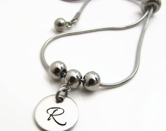 Personalized Initial Bracelet, Personalized Bracelet, Silver Initial Bracelet, Hand Stamped Jewelry Bridemaid Bracelet, Personalized Jewelry