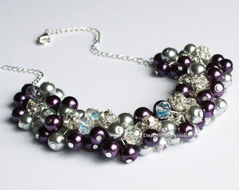 Pearl Cluster Necklace Grey and Purple Necklace Cluster Necklace Purple and Grey Necklace Bridal Gifts Chunky Nekclace Jewelry