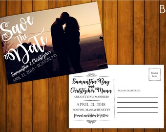 Custom Photo Save the Date Postcard - Horizontal with Swirly Script