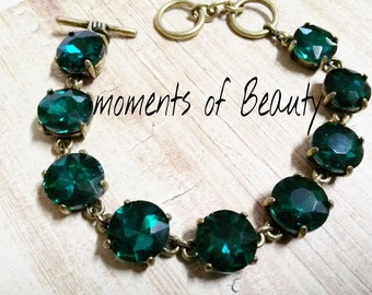"""Emerald Bracelet Crystal Link Bracelet Antiqued Bronze Bling Jewelry May Birthstone Jewelry Mothers Day 7.5"""""""