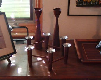Mid Century Danish Teak Wood , Laur Jensen Wooden Wares Candle Holders