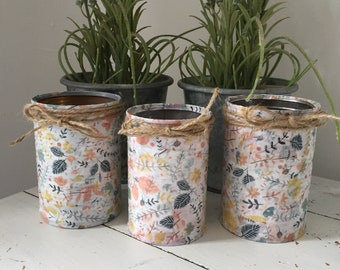 Set of 3 upcycled tin can storage jars
