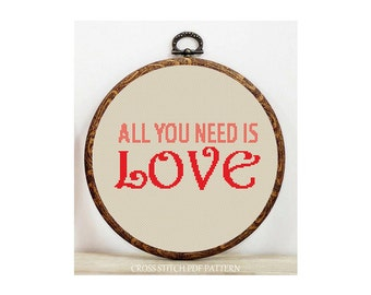 All You Need Is Love-Cross Stitch Pattern-Modern Sampler-Pdf-Instant Download