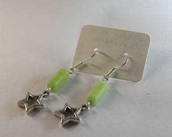 Jasper with open star charm earrings