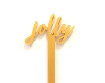 Jolly Swizzle Sticks,Drink Stirrer,Party Decorations, Holidays,Holiday Decor,Christmas Party,Cocktails,Hostess Gift,Laser Cut,6 Pk