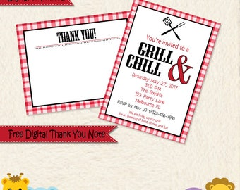 Summer BBQ Party Invitation • Bar-b-que Invitation • Summer Party Invitations • Grill and Chill Invitation • Party Invite • Cookout Invite