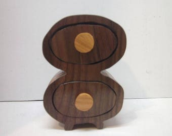 Handmade two drawer scroll saw Trinket Box made from Cherry walnut and Mahogany woods