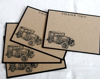 Classic Car Thank You Note Card Stationery Set of Ten, Masculine Stationery Greeting Cards, Thank You Notes for Men Set, Cards for Him