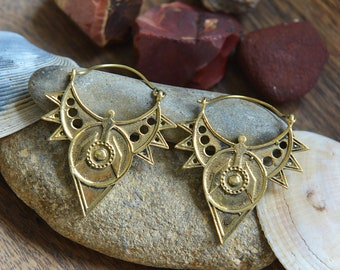 Aztec and Lalli Earrings, Ethnic Brass Earrings, Gipsy Earrings, Tribal Earrings, Indian Earrings, Bohemian Earrings, Yoga Jewellery