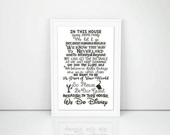 In this house cross stitch pattern Quote Modern Easy Mouse Cute Beauty and the beast Peter Pan Lion Nursery Geek Instant download PDF #139
