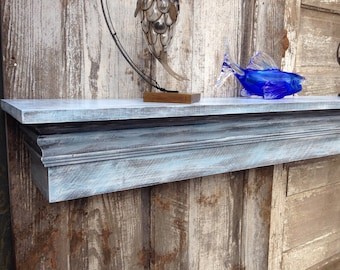 Floating Fireplace Mantle Shelf with Extra Wide Shelf, Distressed Blue Shelf