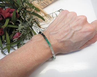 Ombre Emerald Bracelet, May Birthstone, Green Gemstone Bracelet In Sterling Silver, 6.5-8 Inches Length, Emerald Jewelry, Emerald Bracelet
