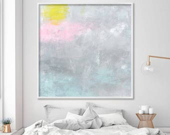 """Large wall art """"Some days are even better 02"""" Giclee print of abstract painting  in grey and pink"""