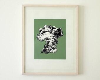 Original screen print poster, cloud smoke