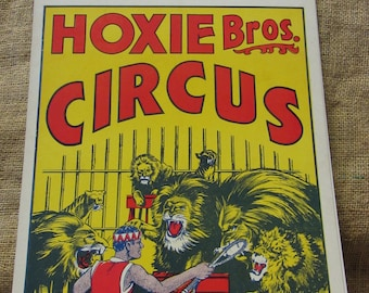 Vintage 1972 Hoxie Brothers Circus Poster Antique Lion Tamer Act 3 Ring Show Fair Prince Bagino 9747
