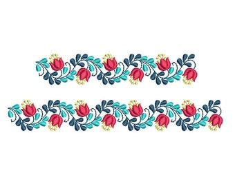 Folk Floral Border machine embroidery design. 2 sizes. Instant download