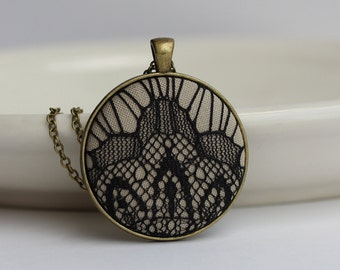 Large Geometric Pendant, Art Deco Jewelry, Unique Necklace, Beige and Black Lace Modern Jewelry