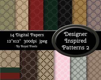 14 Digital Paper Backgrounds - Designer Inspired Patterns - Instant Download #72
