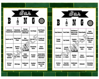 30 Bar BINGO Cards - Pub Crawl BINGO - Bar Crawl BINGO - Birthdays - Bachelor/ette Parties - Girls'/Guys' Night Out - Instant Download