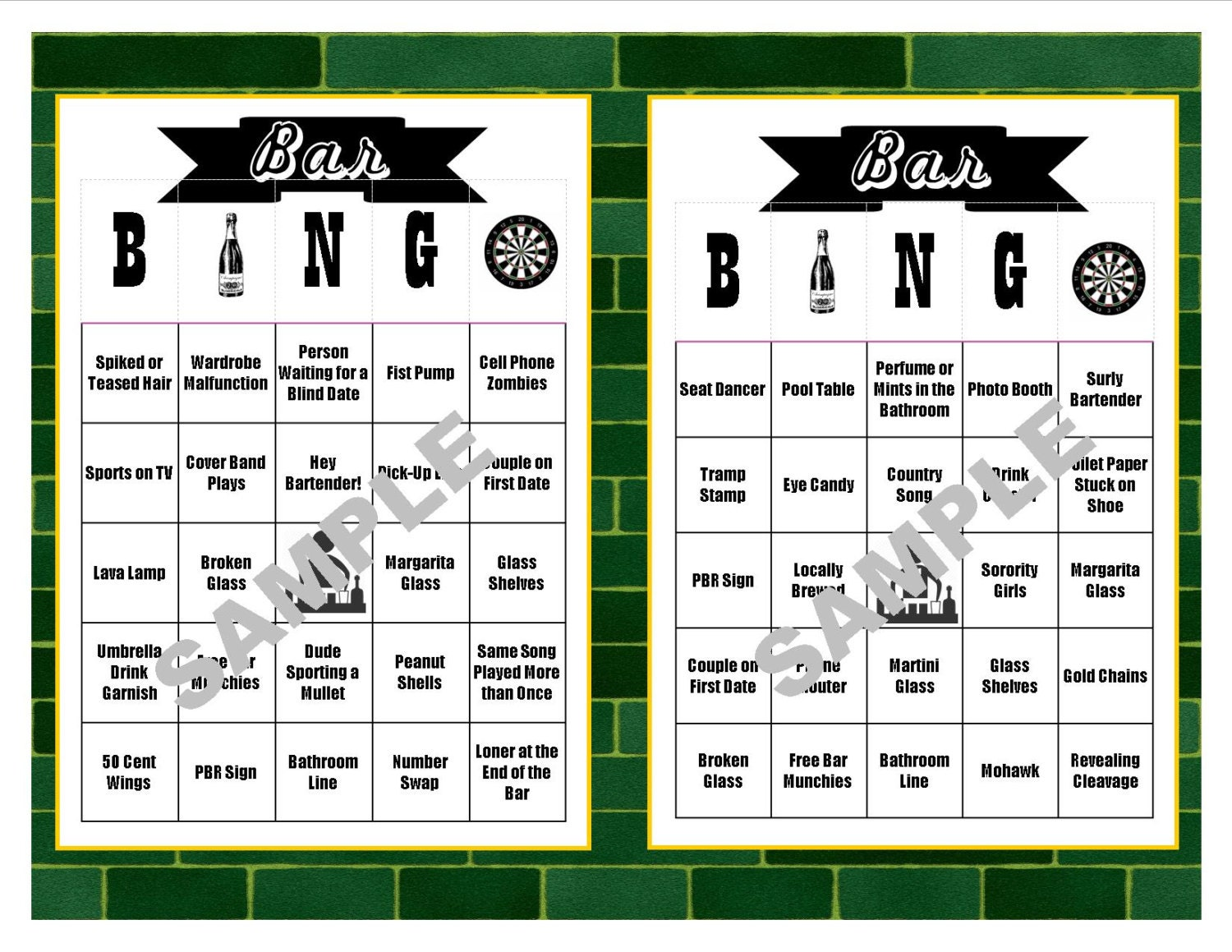 30 Bar BINGO Cards Pub Crawl BINGO Bar Crawl BINGO