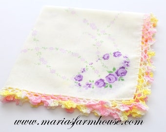 Vintage Handkerchief with Tatted Edge, Ladies' Handkerchief, Vintage Wedding, Repurposed Lavender Sachets, Victorian Style, Tea Party