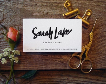 Custom Script Hand-Lettered Lettering Calligraphy Letterpress Business Cards - 100 Pre-Designed Cards - Ready-to-Wear