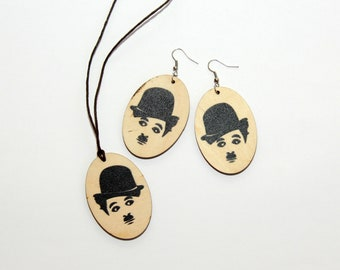 Celebrity Jewelry Set, Printed Painting Set, Charles Chaplin, Jewelry Set, Printed Painting Jewelry, Vintage Jewelry