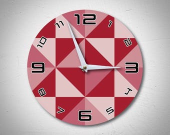 Geometric Red Wall Clock made of wood