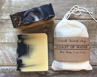 Maine Soap | Coast of Maine Soap | Wood Rose Herb Soap | Indigo Soap Organic Balsam and Poppy Seeds | North Woods Soap | Ocean Soap