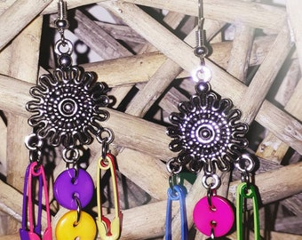 Haberdashery rainbow earrings