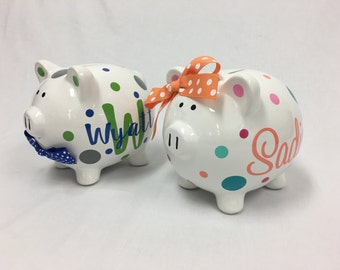 Personalized Piggy Bank: ceramic piggy bank, monogram, name, flowergirl or ringbearer gift, flowers or polka dots, wedding