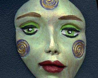 Polymer Clay Large Green, purple and gold    Detailed Tribal Face  Un Drilled AFLG 2