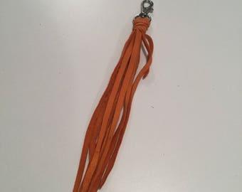 Orange leather Tassel Me purse clip