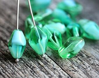 Seafoam green bicone beads 14x10mm Crystal shaped Czech glass green beads - 12Pc - 3049