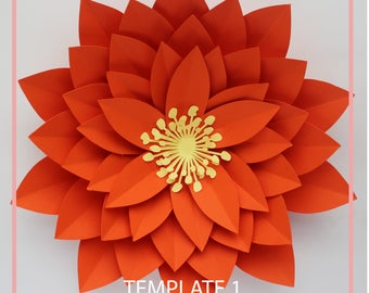 Paper Flower Template, DIY Paper Flower, Giant Paper Flower Templates, PDF Paper Flower, Base and Instruction Including