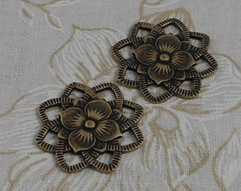 LuxeOrnaments Oxidized Brass Filigree Dogwood Flower Multi Loop Connector 22x22mm (2pcs) F-7378-B