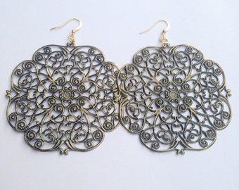 Brass Medallion Earrings