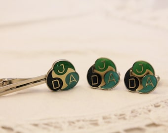 Cufflinks and Tie Bar / Clip with Letters JAD