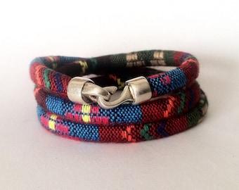 Colorfull fabric bracelet, mens wrap, bracelet men and women, Bohemian bracelet, hippie bracelet, Ibiza style, Vegan bracelet, boho bracelet