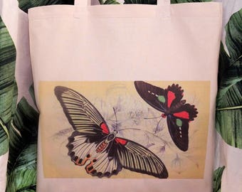 Butterflies  - printed cotton tote bag