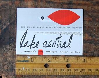 Vintage  Lake Central Airlines Travel Decal Gummed Sticker