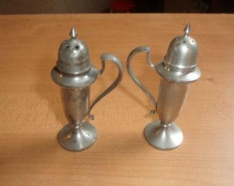vintage pair salt pepper shakers set pewter teapot