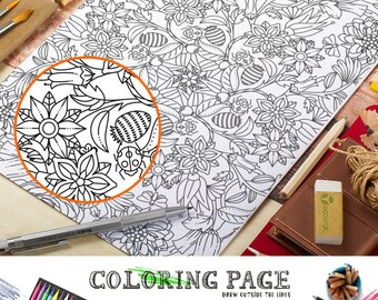 Floral Pattern Coloring Page Printable Floral Coloring Pattern Adult Coloring Book AntiStress Art Therapy Instant Download Zen Digital Art